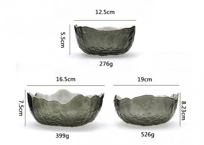 Irregular Shape Empty Glass Jars Frosted Salad Bowl Decorative Crystal Fruit Bowl