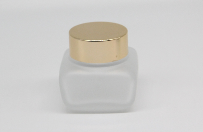 Custom 50ml Empty Glass Containers Jar Face Cream Container With Gold Lid