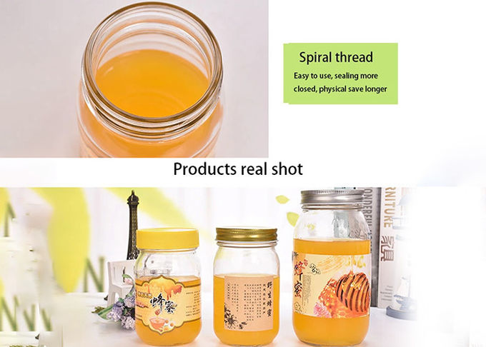 Recycled Ball Honey Jam Glass Jars Aluminum Lid Breathable Seal Customized Size