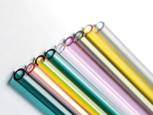 Colored Straight Glass Drinking Straws , High Borosilicate Glass Straws