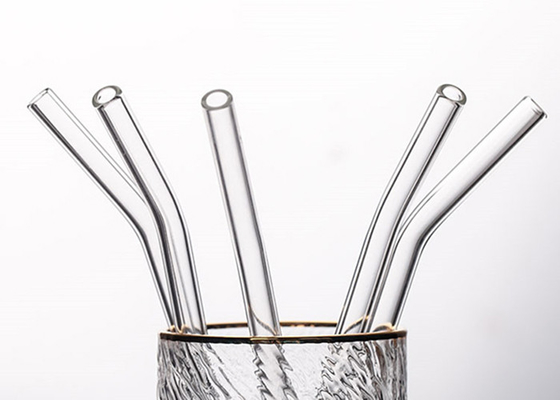 Clear Curved Glass Drinking Straws / Bent Glass Straws CE Certification