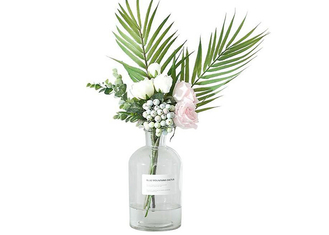 Transparent Round Glass Vase Elegant Feature Customized Service