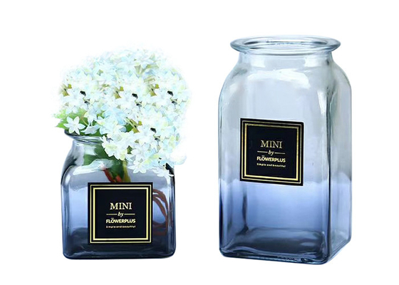 Elegant Square Decorative Clear Glass Vases Customized Logo Printing