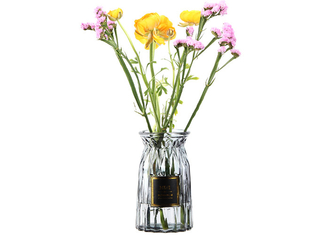 Europe Style Decorative Glass Vases , Colored Wedding Glass Vases