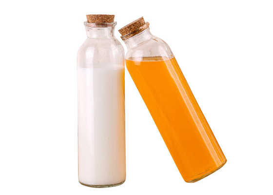 High White Glass Juice Bottles With Lids / Glass Drink Containers