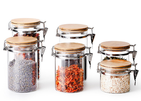 Stainless Steel Buckle Glass Storage Containers High Borosilicate Glass