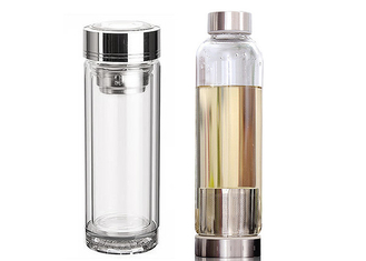 12 Oz Leak Proof Glass Water Bottle / Glass Sports Water Bottle