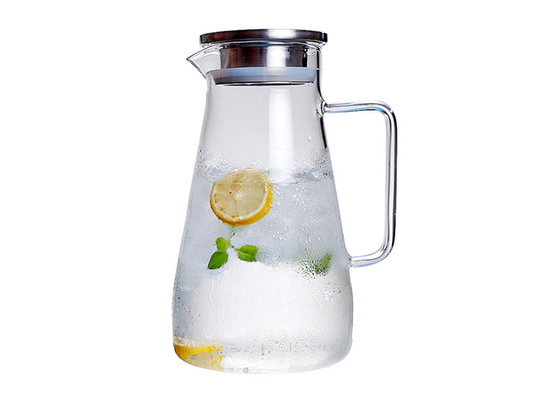 304 Stainless Steel Lid Clear Glass Water Pitcher , Hot Water Glass Pitcher