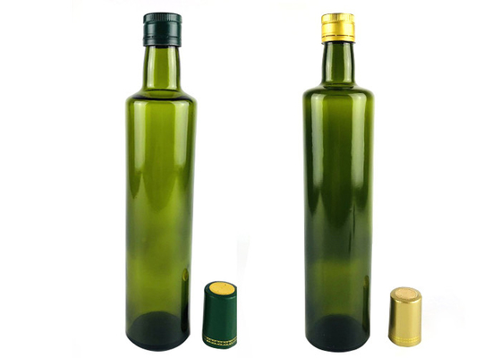 Clear Dark Green Glass Olive Oil Bottle With Aluminum Dropper Cap