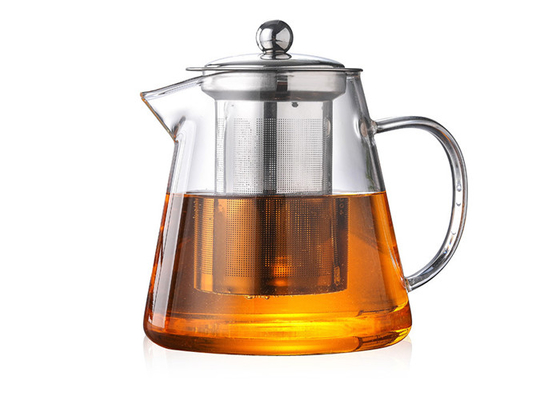 Clear Heat Resistant Glass Teapot With Infuser Round Shape Square Shape