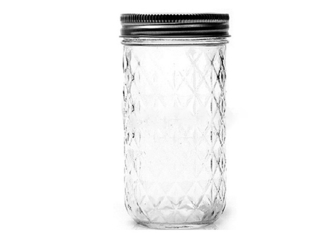 Embossed Clear Wide Mouth Pint Jars For Beverage Jam SGS Certification