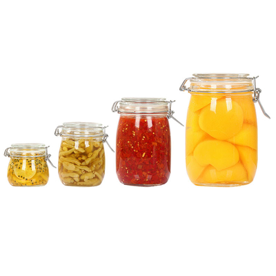 Custom Size Airtight Thick Glass Food Storage Jars With Clip Top Caps