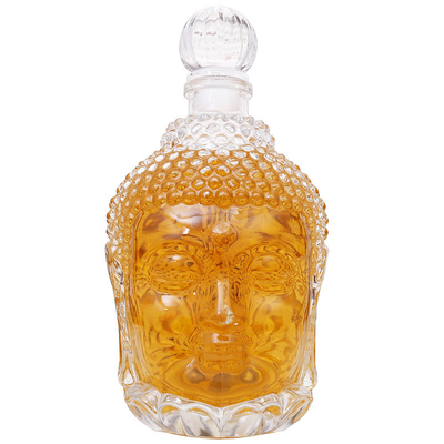 Buddha Head Shape Empty Glass Wine Bottles Unique 750ml For Vodka / Whisky With Stopper