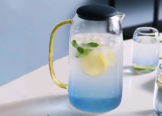 Large Capacity Cold Water Carafe Pot Blue Color With Silicone Cap Wear Resistance