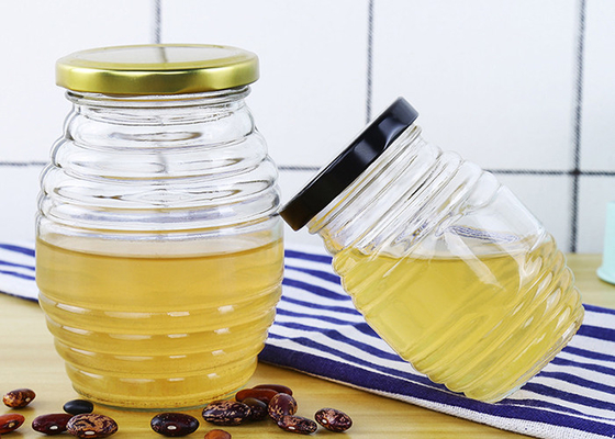 Transparent Glass Honey Jars With Aluminum Lid Round Shape YF201901030