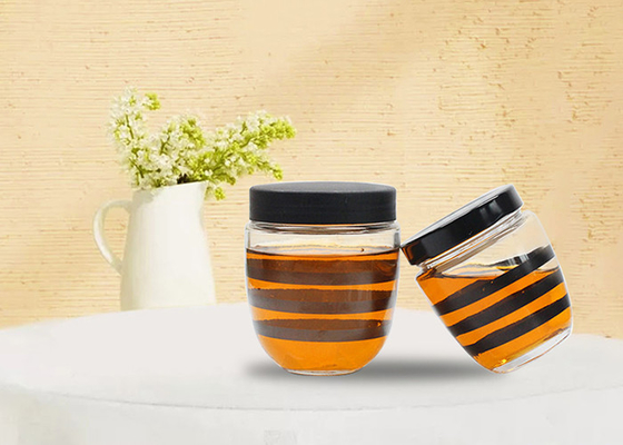 High White Material Sealed Glass Honey Jars With Lids Canned Jam Glass Bottle