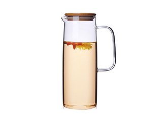 High Borosilicate Heat Resistant Glass Jug Straight Body Pot Cold Water Cup With Bamboo Cover