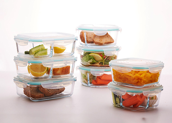 Separated Glass Lunch Box Wide Mouth Storage Jars Glass Material 860ml / 850ml