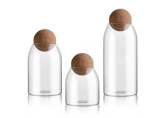 Ball Cork Lid Borosilicate Glass Jar Unique Clear Storage 500ml 800ml 1200ml