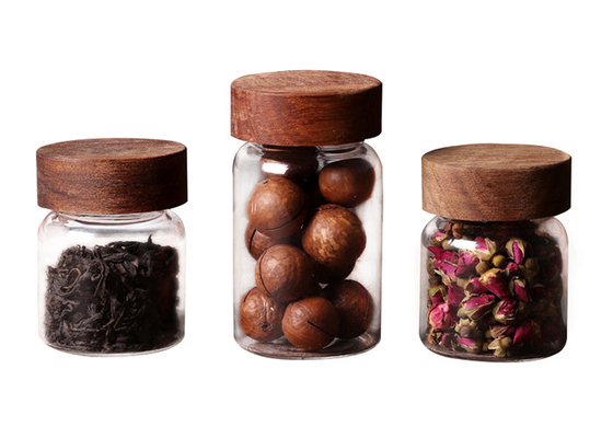 Clear Small Coffee Canister Glass Kitchen Storage Jars With Wood Lid Round Shape