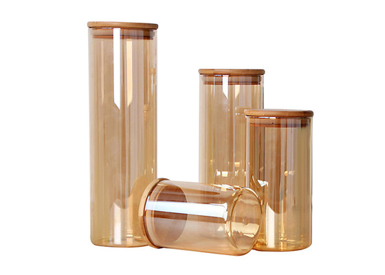 500ml 1000ml Empty Glass Jars High Borosilicate Storage With Airtight Bamboo Lid