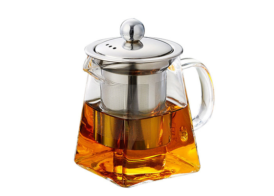 Borosilicate Square Shape Pyrex Glass Teapot With Infuser Strainer Handmade