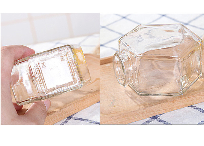 250ml-750ml Glass Honey Jars With Lids , Hexagon Glass Jars Clear Color