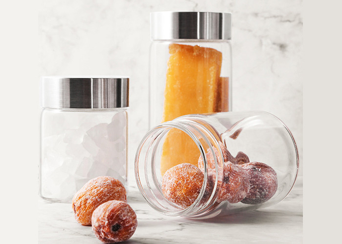 Portable Small Sealable Glass Jars With Lids 180ml 330ml 500ml Cylindrical Shape