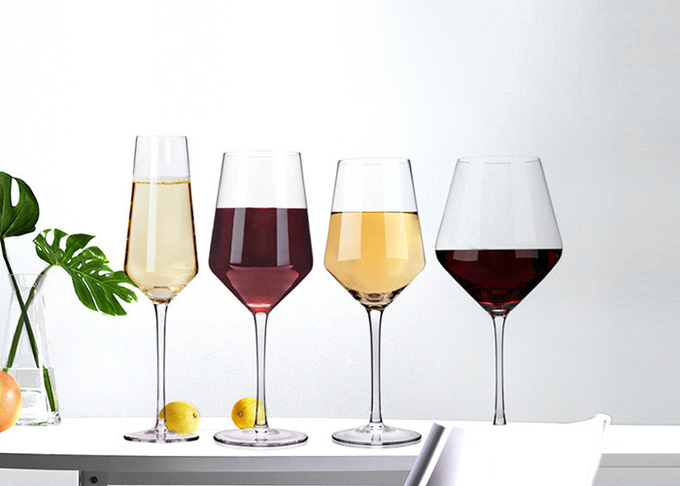 Small Long Stem Wine Glasses 230ml-700ml Crystal Glass Eco Friendly Feature